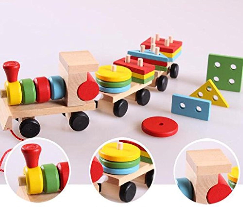 HuaQingPiJu-JP 木製ビルディングブロック列車ベビージオメトリ認知マッチングおもちゃクリエイティブギフト