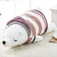 AAcreatspaceポータブル耐久性のある漫画ぬいぐるみ枕ホッキョクグマ人形かわいい人形枕昼休み睡眠枕(革赤(ホッキョクグマ)(55 cm))