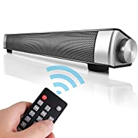 WEMOSI サウンドバースピーカー Bluetooth 高音質 多機能 USB電源 リモコン ワイヤレス Soundbar Speaker TV フロントサラウンドシステム PC/テレビ対応 ブラック(LP-08 Black)