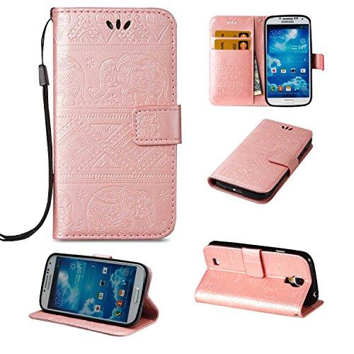 CUSKING Galaxy S4 ケース 手帳型ケース 高品質 PUレザー フリップ カバー 無地 おしゃれ 全面保護 耐衝撃 ギャラクシ S4 保護ケース ストラップ付き カード収納 スタンド機能 - ローズゴールド