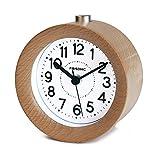 FiBiSonic 目覚まし時計 アナログ 大音量 置き時計 連続秒針 音無し アラーム スヌーズ 照明ライト付き 木製 電池式 小型 かわいい 丸型 S01(ナチュラル)