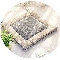 リネンオフィスの畳のクッションマット夏の通気性のシンプルな家庭食卓のクッション,(正方形)米白面+灰色面,直径40*40*厚4cm