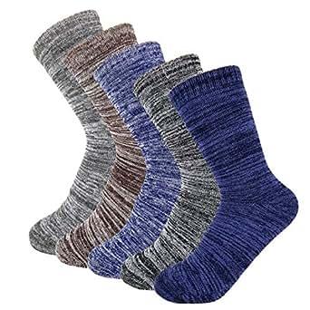ハンエイスアイス 厚手 靴下 秋冬 ソックス 裏パイル 暖かい 防臭 25-27cm メンズ 5足セット (スラブ·5足セット)