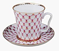 Lomonosov Porcelain Tea Cup Mug and SaucerレッドNet