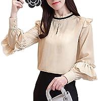 [美しいです] レディース シャツ ブラウス 春 夏 刺繍 スリム 長袖 シースルー フォーマル シフォン フリル (ベージュ, 2XL)