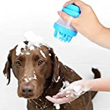 H&J 犬猫用 ペット バスブラシ シャンプー お風呂 入浴 マッサージ 抜け毛取り シリコン製 最新バージョン(ブルー)