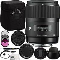 Sigma 35mm f/1.4DG HSM ArtレンズFor Nikon DSLRカメラ) バンドルIncludesメーカーアクセサリー+ 3PCフィルタキット+レンズキャップ+レンズペン+キャップキーパー+マイクロファイバークリーニングクロス