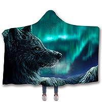 LJFYXZ 着る毛布 スターオオカミ プリントブランケット フード付き毛布 子供用マジックマント 厚い二重層 柔らかくて快適 さまざまなスタイル (色 : F f, サイズ さいず : 150x130cm)