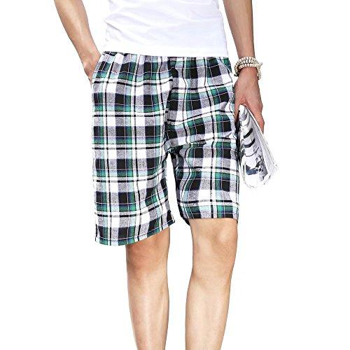 InitialG【イニシャルジー】ハーフパンツ メンズ ショートパンツ チェック柄 パンツ 短パン ショーツ 半ズボン 海 ビーチ 006-dsjda432-2-s01(フリーサイズ 232 )