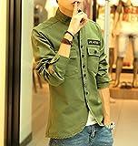 メンズ (8色選択) 長袖 ミリタリー シャツ ジャケット オリジナルBAGセット#687 ネイビー ライトグリーン ブラック カーキ ベージュ ..