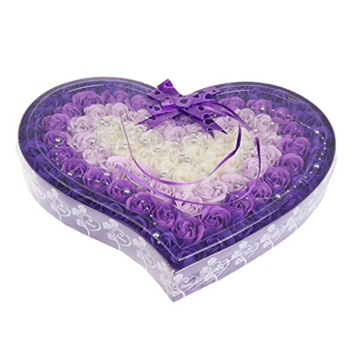 中傷リマ気質Baosity 約100個 ソープフラワー 石鹸の花 母の日 心の形 ギフトボックス バレンタインデー ホワイトデー 母の日 結婚記念日 プレゼント 4色選択可 - 紫