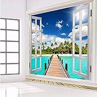 Mingld 3D壁画壁紙カスタム写真青空白い雲ビーチ窓風景リビングルームの背景写真壁紙印刷-350X250Cm