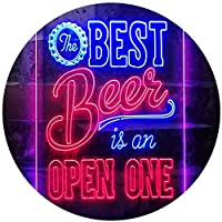 Best Beer is an Open One Bar Dual Color LED看板 ネオンプレート サイン 標識 青色 + 赤色 210 x 300mm st6s23-i3407-br