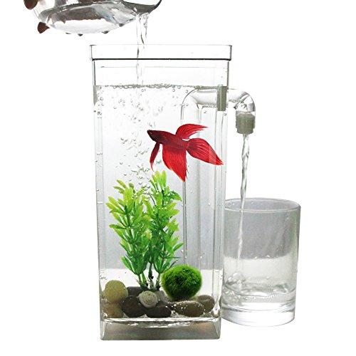 RaiFu アクアリウム 水槽 イルミニウム 卓上 ミニ水族館 フィッシュタンク オフィス 家装飾 自浄 プラスチック 魚タンク デスクトップ 長方形