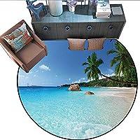 """Ocean Home Decor 円形ラグカーペット 抽象的 デジタル幾何学模様 円形カーブ付き 海のテーマ 円形エリアラグカーペット (直径55インチ) マルチカラー 6'3""""/1.9m"""