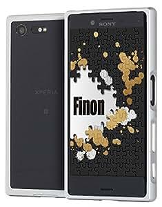Finon(フィノン)アルミメタルバンパータイプ 【アルミ素材/スライド装着式/ボタンスタイル】指紋が付かないフィルム付【Xperia X Compact】専用 ケース カバー カラー:シルバー