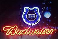 Desung B udweiser スポーツチーム I-Colts ネオンサイン (各種サイズ) ビールバー パブ メンズ ケーブ ガラス ネオンライトランプ BW05 17 Inches