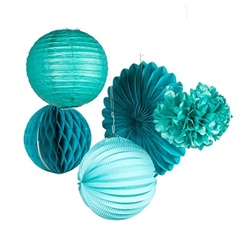 SUNBEAUTY 「5個セット」青緑セット ペーパーポンポンフラワー ハニカムボール 紙提灯 ペーパーファン パーティーデコレーション 誕生日飾り付け 結婚式 インテリア (Style3)