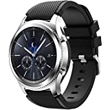 TERSELY Sport Band Strap for Samsung Gear S3 / Galaxy Watch 46mm, 22mm Soft Silicone Metal Buckle Bands Fitness Sports for Samsung S3 Frontier/Classic/Galaxy Watch 46mm Smartwatch - Black