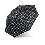 Vionriwon 折りたたみ傘 自動開閉 チェック柄 傘 メンズ 大きい 折りたたみ 軽量 グラスファイバー骨組み カバー付き 耐風撥水 傘 レディース 折りたたみ 晴雨兼用 (ブラック)