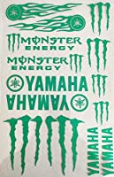 (WSY) [並行輸入品]YAMAHA ステッカーヤマハステッカー 車用 バイク用 モンスターエナジー クリアフィルム 転写ステッカー 防水カッティング ステッカー (グリーン)