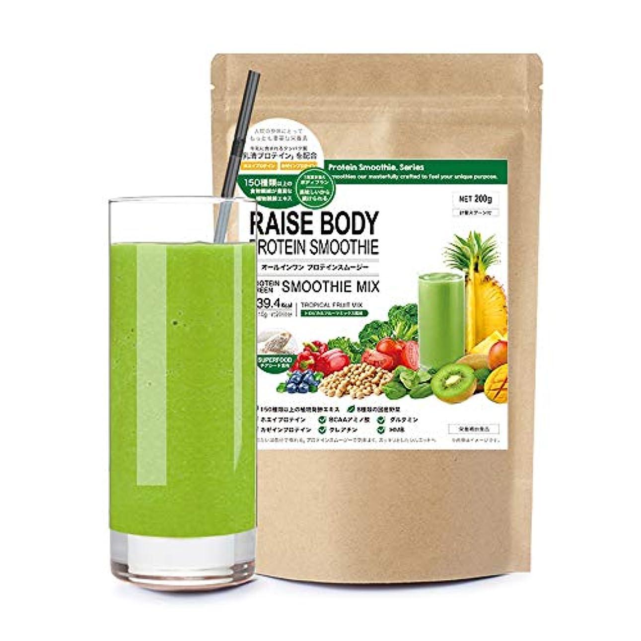 受信最大繊細スムージー プロテイン ダイエット シェイク ミネラル酵素 置き換え トロピカルフルーツ風味 RAISE BODY 200g(20回分)
