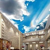 Xbwy 青空と白い雲3Dの壁の壁画の壁紙カスタム大自然風景天井フレスコ画リビングルームホテル写真壁紙-200X140Cm