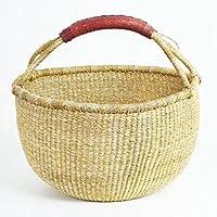 手Craft Fair TradeガーナBolga African dye-free Market Basket Across (11インチ- 14