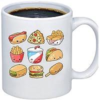 ZMvise Custom Art Food Clipart Cute Food Taco 白い陶製マグカップの完璧なクリスマス感謝祭gfit