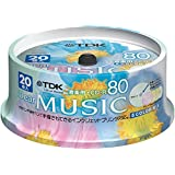 TDK 音楽用CD-R 80分 インクジェットプリンタ対応(5色カラーミックス・ワイド印刷仕様) 20枚スピンドル CD-RDE80CPMX20PS