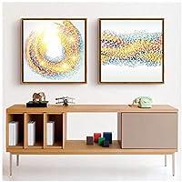 kldfig 印刷写真抽象レインボーライン絵画北欧スタイルのファッションポスター装飾リビングルーム寝室キャンバス壁アート-50 * 50センチ非フレーム-2ピース