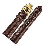SONGDU 腕時計 ベルト 男女兼用 カーフスキン 様々なブランド適用されます バタフライバックル(18mm) (ダークブラウン(ゴールデン バックル))