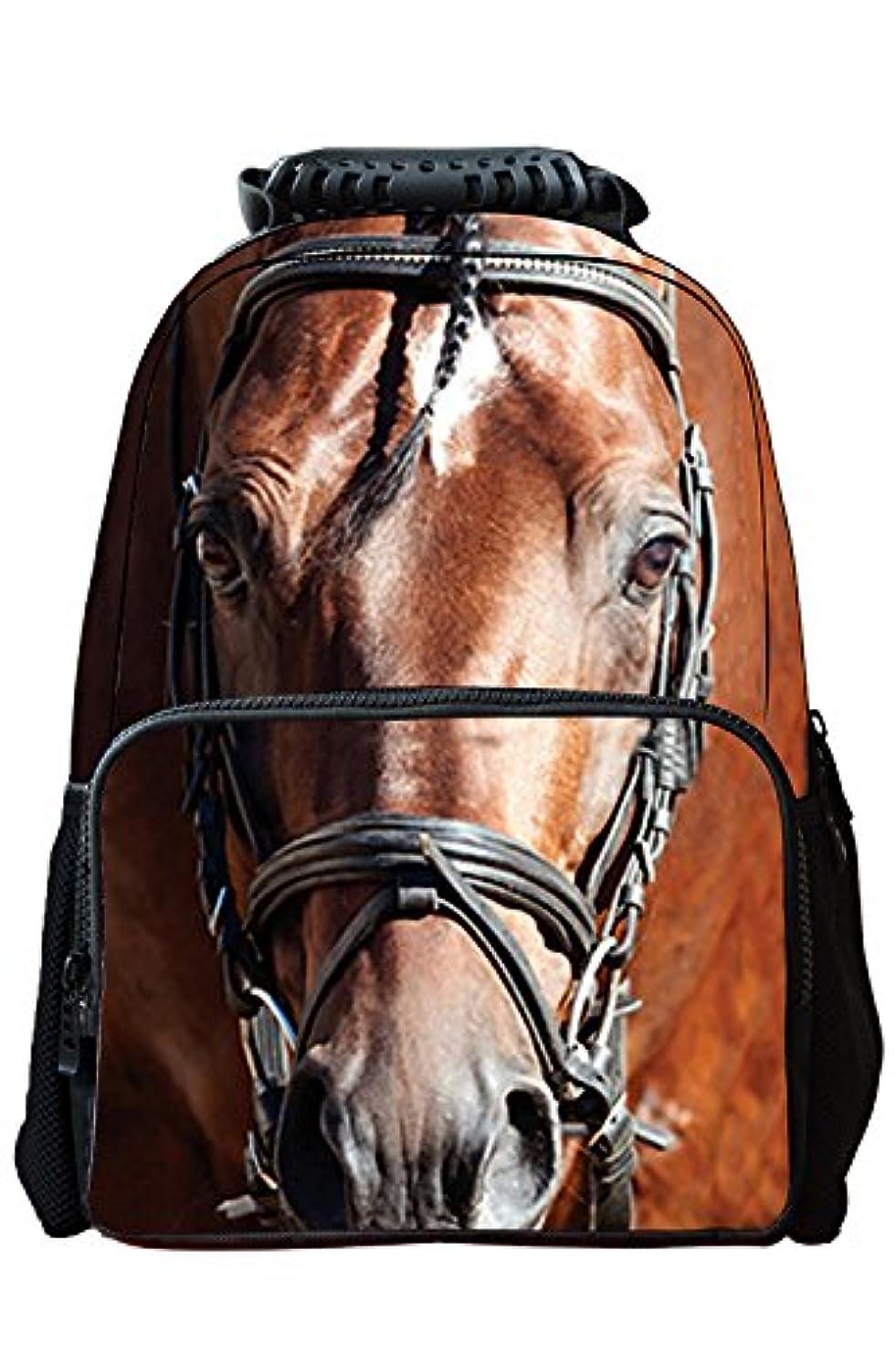 病者眠りデクリメントゴシレ Gosear 多機能 3D動物柄 バックパック リュックサック キャンバス バック かばん デイパック 通学 通勤 旅行 大容量 男女兼用 馬柄 とび色