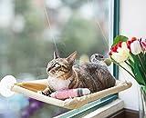 ハンモック 猫 ベッド 窓際マット 猫グッズ 日向ぼっこ 日光浴 夏冬両用 猫用品 通気 取り付け簡単 繰り返し洗濯 折り畳み 耐荷重17.5KG(カーキ)