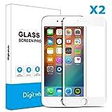 【2枚セット】Iphone6 plus/6s plus(白)用ガラスフィルム 3D曲面炭素繊維ソフトエッジ 高硬度9H 超薄 気泡防止 ディスプレー全面カバー  Digit Whale