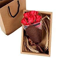 Zafina 造花 石鹸の花  装飾 花束 薔薇 枯れない花 高品質 ギフトボックス パーティー  お祝い  結婚式  バレンタインデー に 最適 記念品 (レッド)