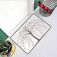 しだれ花インレット屋外ドアマット伝統的な日本の桜の木花にバーストオリエンタルキャッチダスト雪と泥トープローズとペールピンク 75x45cm