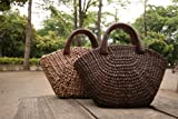 【かごバック】チャック付き/ブッサバー/ストローバッグ/ウッドハンドル/ハンドバッグ/カゴバック/Bussaba Straw bag wood handle