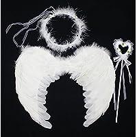 [FERE8890] ガールズ 天使の翼 天使の羽 子供 ハロウィン クリスマス Xmas 3点セット カチューシャ ステッキ 羽 フラワーガール コスプレ 道具 パーティー 舞台用 仮装 翼