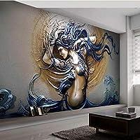 Generic カスタマイズされた自己接着壁画3D立体レリーフ美しい壁紙防水キャンバスアート壁画リビングルームの寝室-400X280Cm