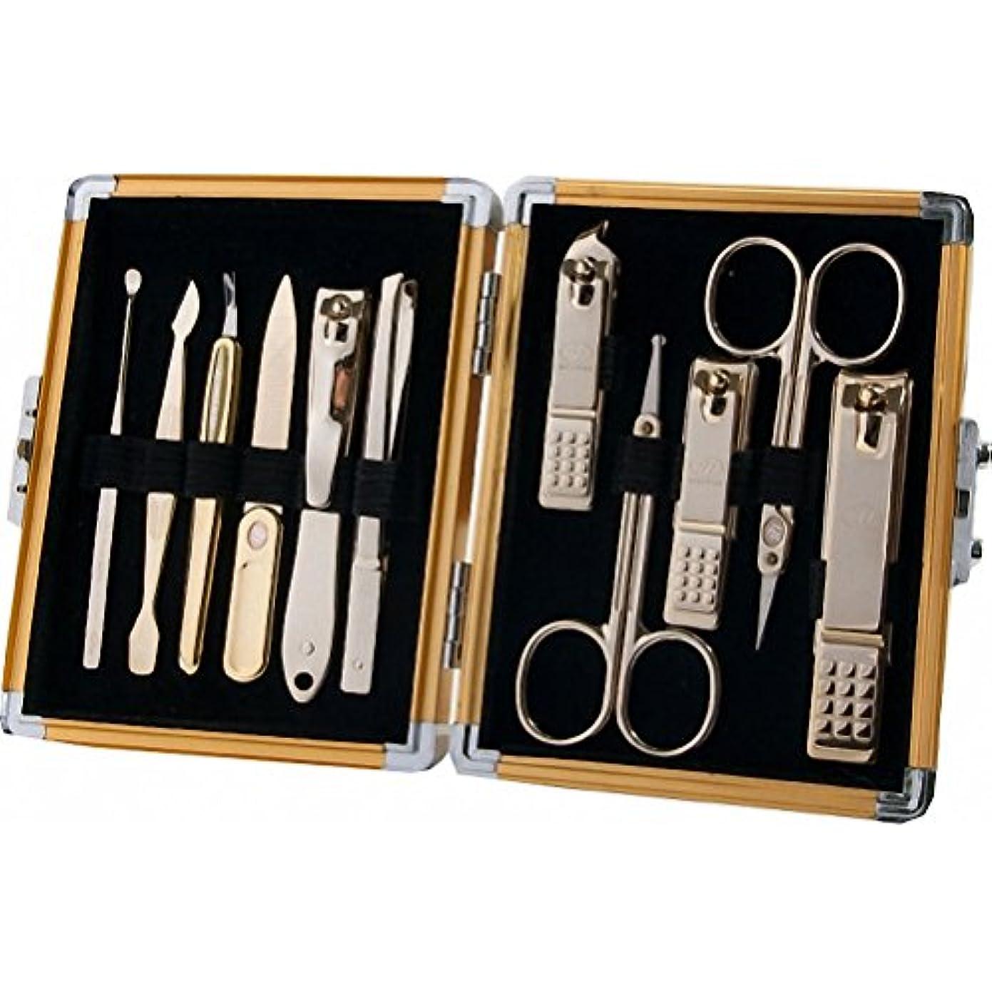 意味増幅する無視する【 三セブン】THREE SEVEN TS-16000 Manicure Set in Aluminum Case 三セブンアルミケースのTS 16000マニキュア セット (4.Gold_Gold) [並行輸入品]