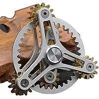 指スピナー 歯車が連動して回転する ハンドスピナー Fidget Spinner Toy フォーカス玩具 (銀)