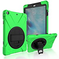 iPad Air/iPad 5 Back Case, DIGIC Hybrid PC Silicone Armor Defender Cover with Hand Strap 360 Degree Rotation Stander Full Protective Tablet Shell for Apple iPad Air/iPad 5, Grass green