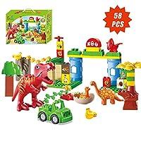 ToyVelt 恐竜ブロック おもちゃ 58ピース ジュラシック時代ブロックセット ジュラシック 組み立て玩具 楽しい教育 子供のおもちゃ 男の子と女の子用 3歳から12歳
