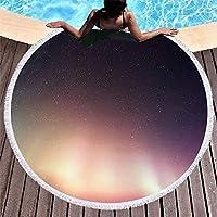 Ta-weo ラウンドマット150センチビーチタオルプリントタッセルサボテンブランケットピクニックマイクロファイバー大マット150×150オーロラ (Color : 56, Size : 150CM)