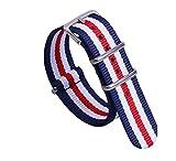 24ミリメートルダークブルー/赤/白の広いスタイリッシュNATOスタイル頑丈なソフトナイロンスポーツメンズ腕時計時計バンドリストバンド