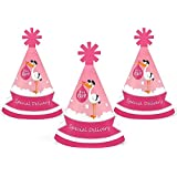 Girl Special Delivery – Mini円錐ピンクStork赤ちゃんシャワー帽子 – スモールLittle Party Hats – 10のセット