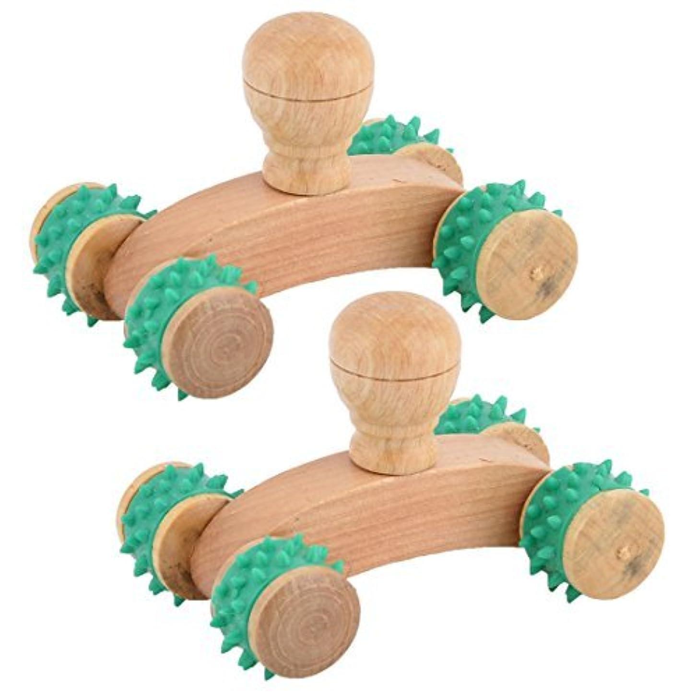 グリーンDealMux木製のホームポータブルストレスリリーフボディネック筋マッサージローラー2PCS