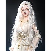 Kuafu 9 – 10インチ( 22 – 24 cm ) 1 / 3 BJD / SDドールウィッグUncle新しいファッション長い波状人形ヘアウィッグホワイト