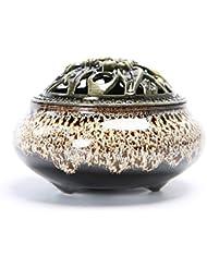 クリエイティブセラミック香炉ホームルーム香スティック/コーン/コイルバーナーホルダー灰キャッチャーホーム仏教の装飾香ホルダー (Color : White, サイズ : 3.93*2.83inchs)